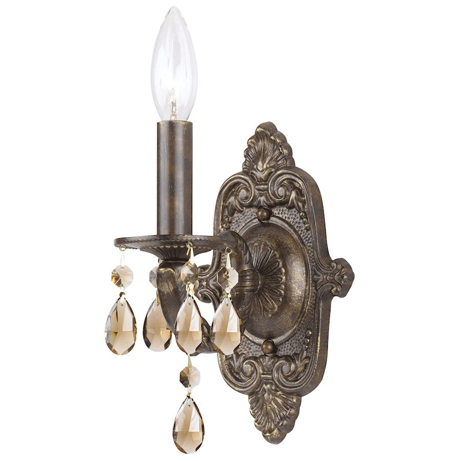 Crystorama Paris Market 1 Lt Golden Teak Crystal Bronze Sconce