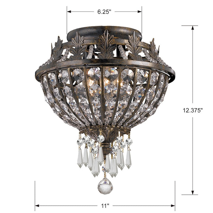 Crystorama Vanderbilt 3 Light Flush Mount, English Bronze