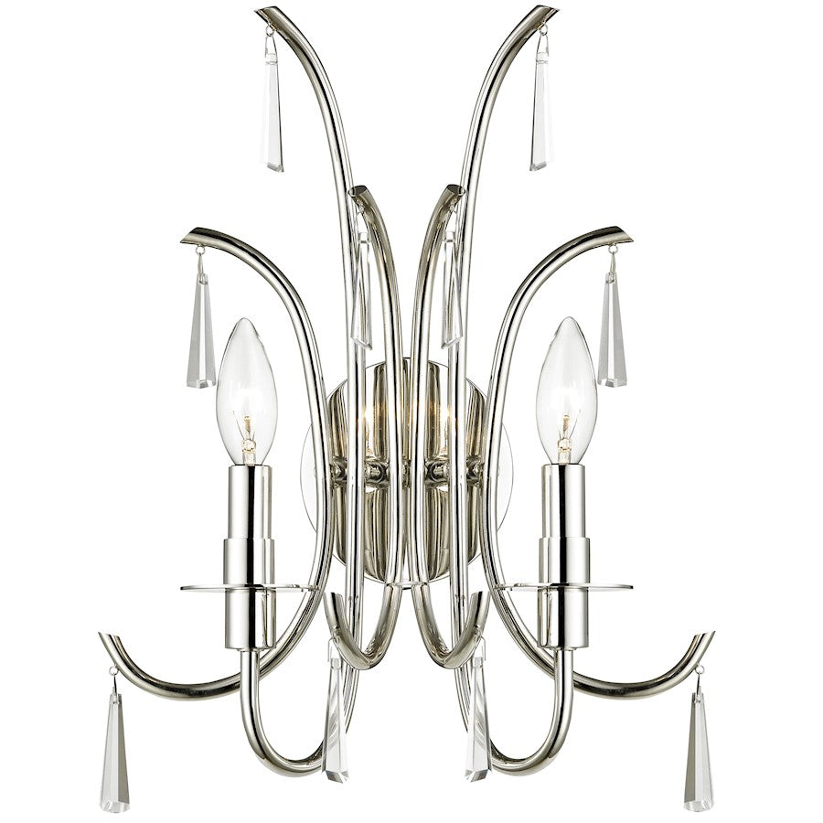 Crystorama Cody 2 Light Crystal Polished Nickel Sconce