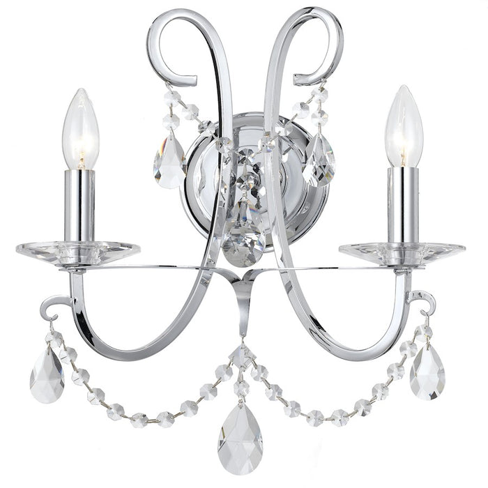 Crystorama Othello 2 Light Crystal Polished Chrome Sconce