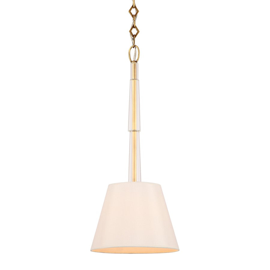 Crystorama Lawson 1 Light Pendant, Aged Brass