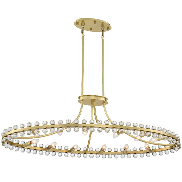 Crystorama Clover 12 Light Chandelier, Aged Brass - CLO-8897-AG