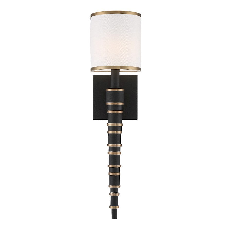 Crystorama Sloane 1 Light Wall Sconce, Gold/ Black Forged - SLO-A3601-VG-BF