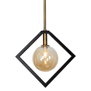 Dainolite 1 Light Pendant, Matte Black & Bronze