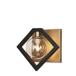 Dainolite 1 Light Wall Sconce Black & Bronze, Champagne Glass