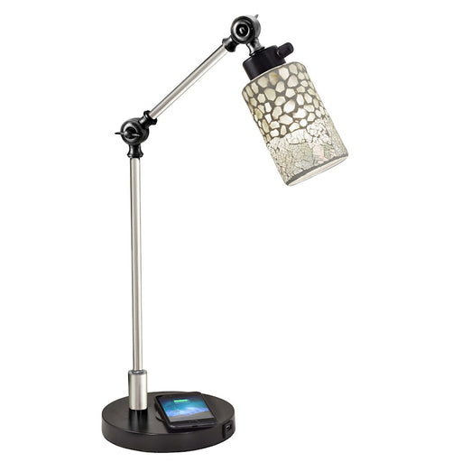 Dale Tiffany Alps Mosaic Desk Lamp, Wireless/USB Charger, Black