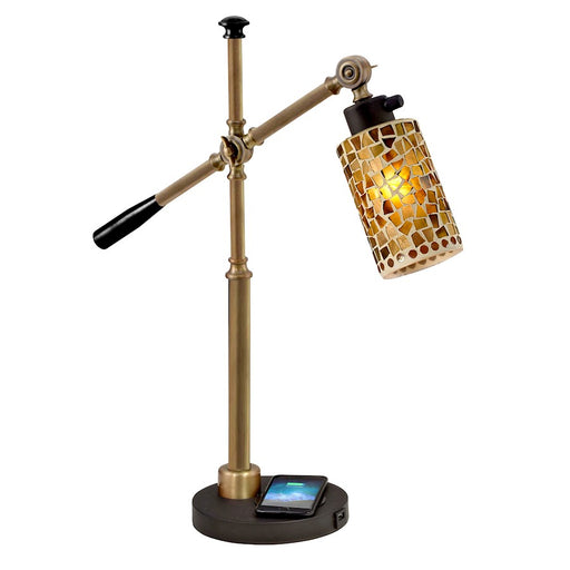 Dale Tiffany Knighton Mosaic Desk Lamp, Wireless/USB Charger, Black