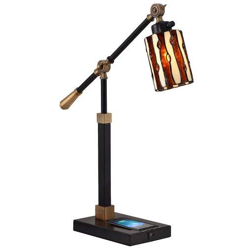 Dale Tiffany Diamond Hill Desk Lamp, Wireless/USB Charger, Black