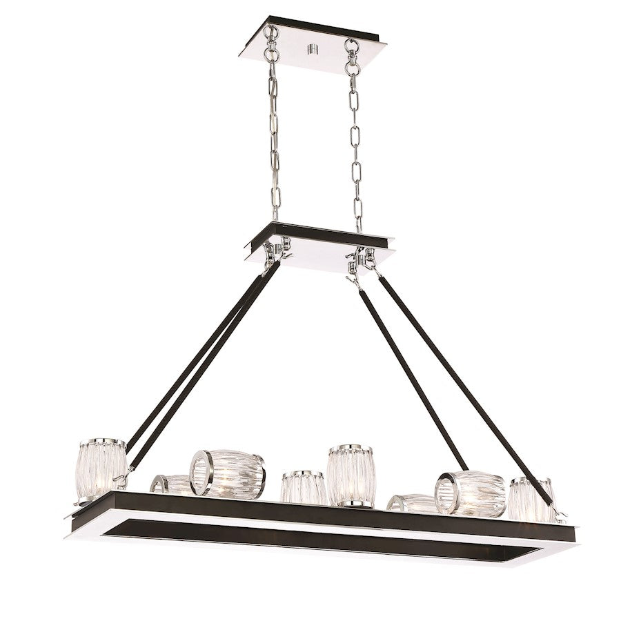 Eurofase Barile 10-Light Chandelier, Chrome/Black/Clear - 31651-011
