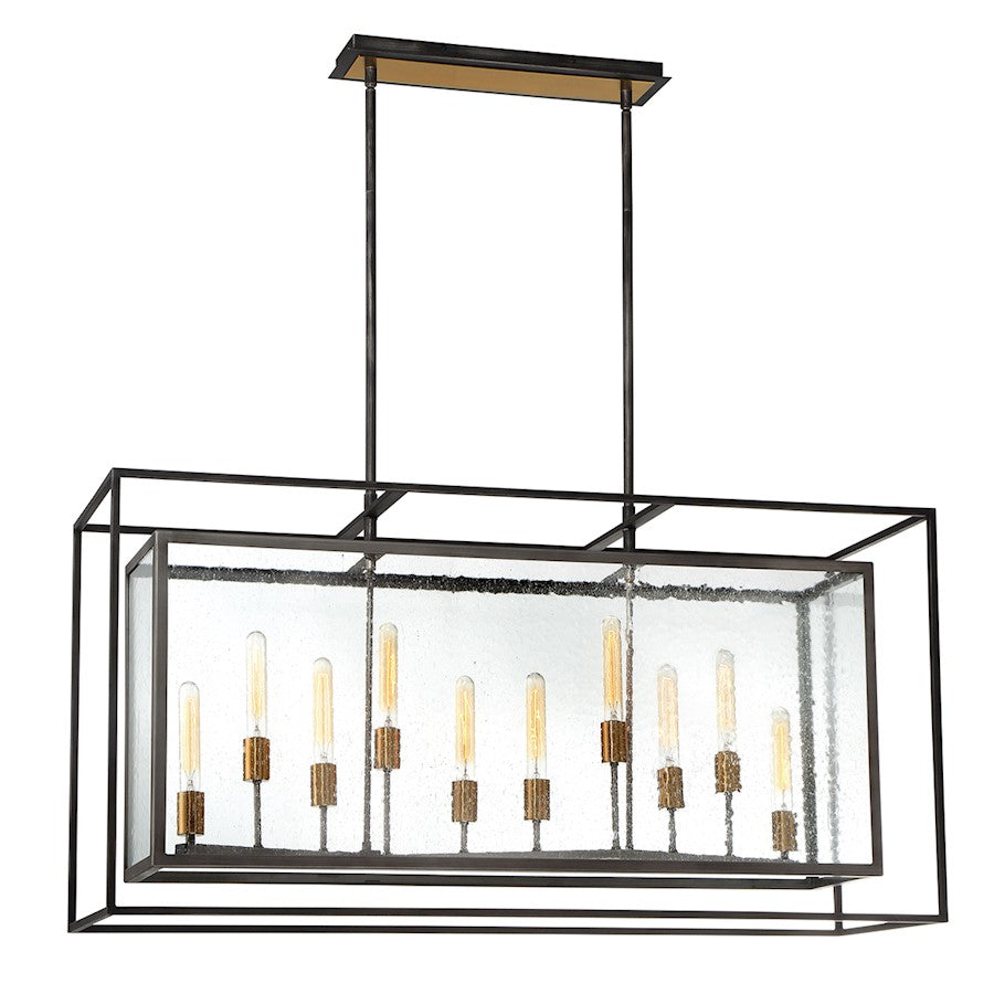 Eurofase Affilato 10-Light Rectangular Chandelier, Black/Clear - 33698-014