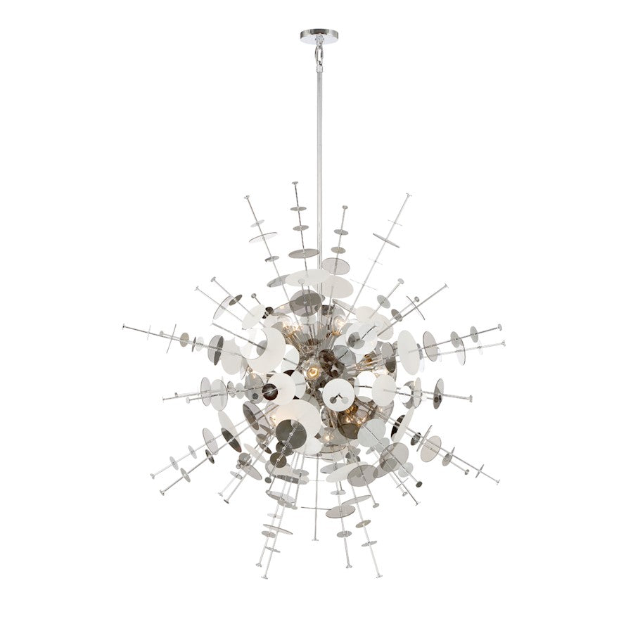 Eurofase Bonazzi 12-Light Chandelier, Chrome/Smoke/Clear/Frosted - 34084-021