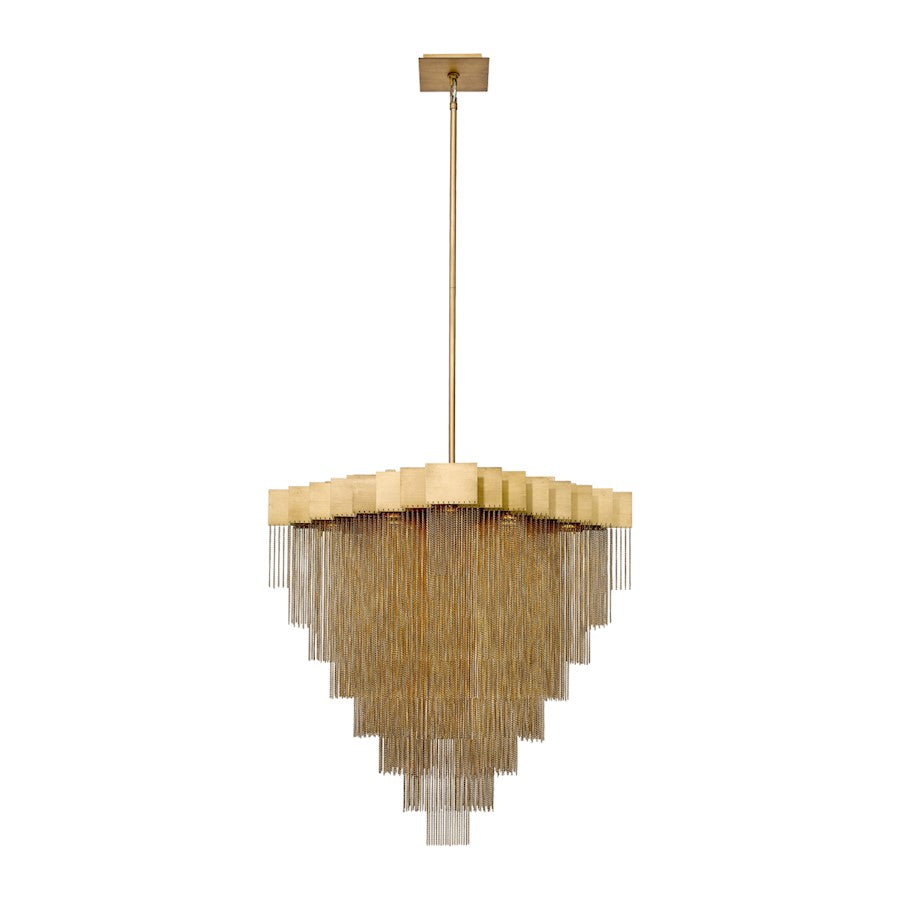 Eurofase Bloomfield 18-Light Oval LED Chandelier, Antique Brush Gold - 37095-017