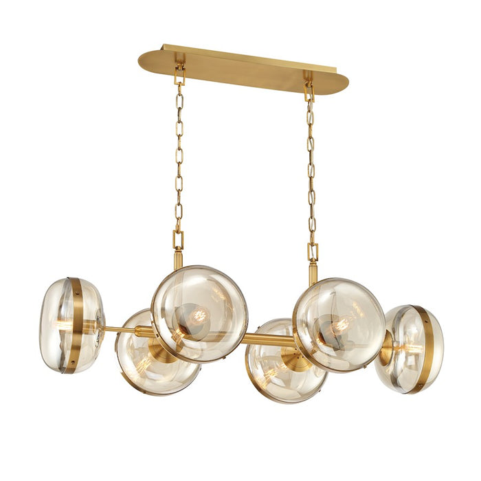 Eurofase 6 Light Oval Chandelier, Ancient Brass/Champagne - 38130-014