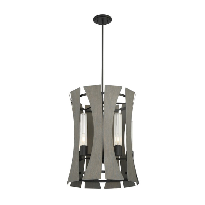 Eurofase 5 Light Chandelier, Matte Black W/ Grey Wood/Glass - 38163-012