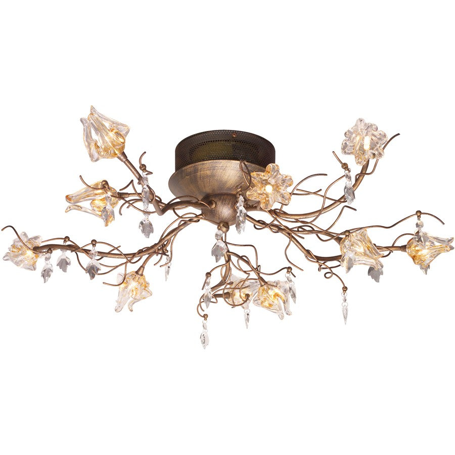 ET2 Lighting Flora 10-Light Flush Mount, Brushed Bronze