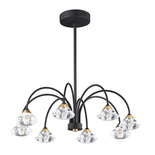ET2 Lighting Hope LED 8-Light Semi Flush/Pendant, Black/Gold