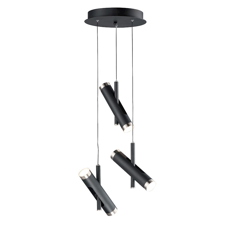 ET2 Lighting Ambit LED 6-Light Pendant, Black/Satin Nickel