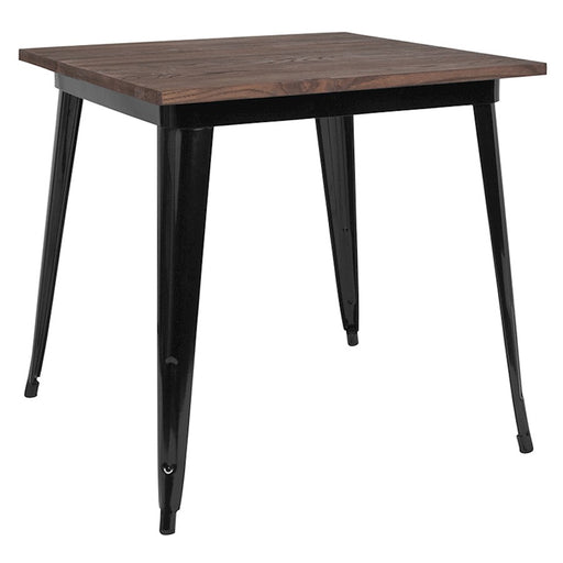 "Flash Furniture 31.5"" Square Metal Table, Walnut"