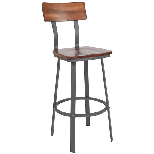 Flash Furniture Flint Series Restaurant Barstool, Walnut