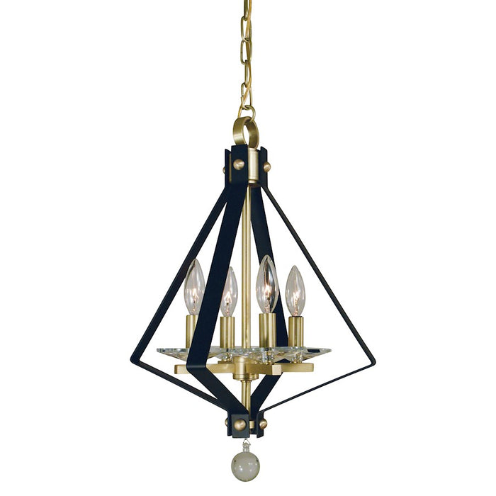 Framburg Ice 4 Light Mini Chandelier, Satin Brass/Black Accents - 4924SB-MBLACK