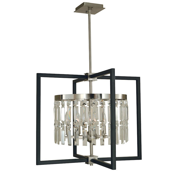 Framburg Hannah 5 Light Dining Chandelier, Brushed Nickel/Black - 5335BN-MBLACK