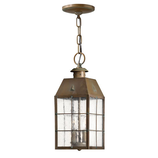 Hinkley Lighting Nantucket 2 Light Outdoor Hanging, Aged Brass