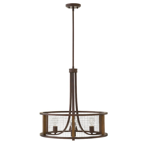 Hinkley Lighting Beckett 3 Light Chandelier Small Pendant, Iron Rust