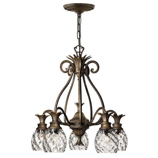 Hinkley Plantation 5 Light Chandelier Downlight Foyer, Pearl Bronze