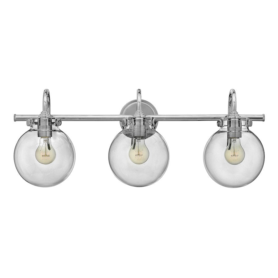 Hinkley Congress Bath Vanity Light with Round Clear Glass
