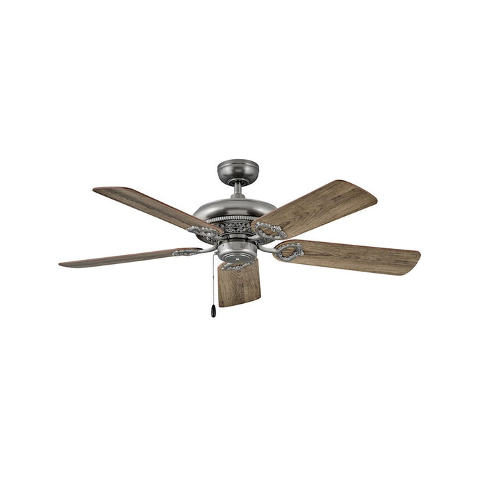 "Hinkley Lighting Lafayette 52"" Fan, Pewter With Pull Chain - 901152FPW-NID"