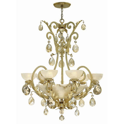Fredrick Ramond Barcelona 6 Light Chandelier Foyer, Silver Leaf