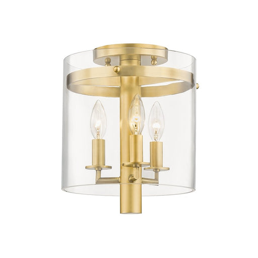 Hudson Valley Baxter 3 Light Flush Mount, Aged Brass/Clear Glass - 1303-AGB