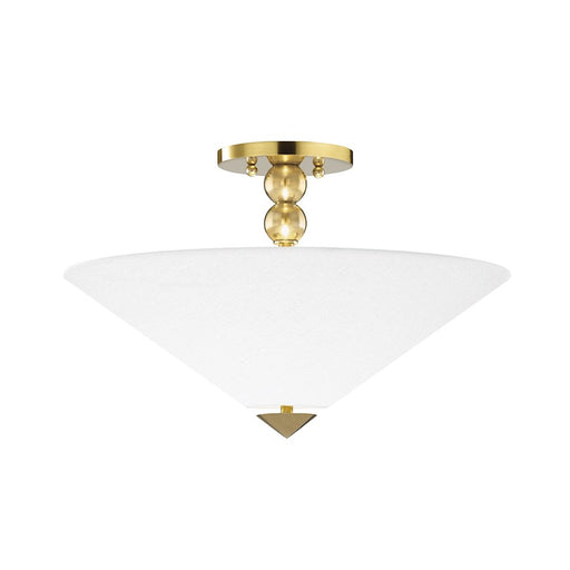 Hudson Valley Flare 2 Light Flush Mount, Brass/White Belgian Linen - 1318-AGB