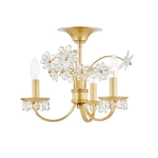Hudson Valley Beaumont 3 Light Flush Mount, Aged Brass/White Glass - 4403-AGB