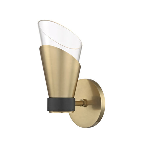 Mitzi by Hudson Valley Angie 1 Light Wall Sconce, Aged Brass/Black