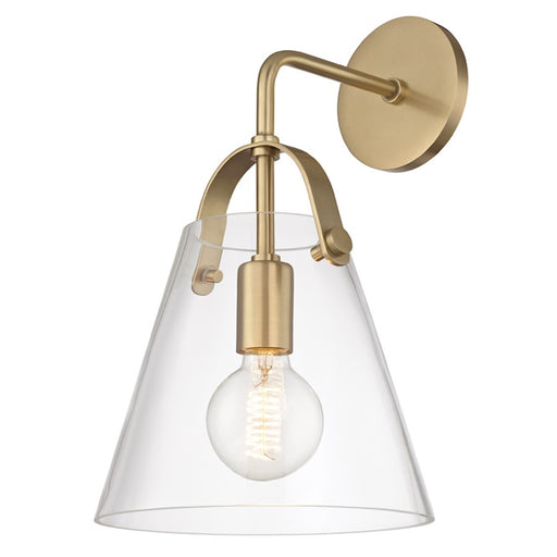 Mitzi by Hudson Valley Karin 1 Light Wall Sconce, Aged Brass