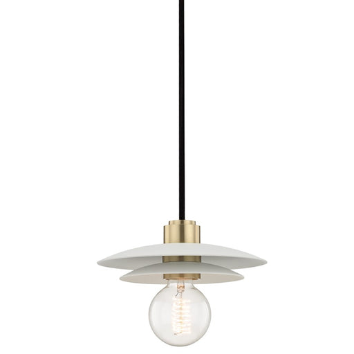 Mitzi by Hudson Valley Milla Small Pendant, Aged Brass/White