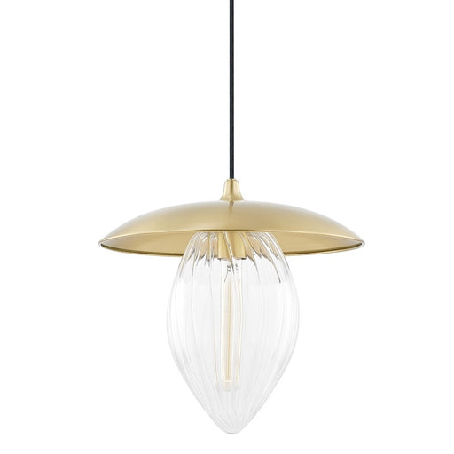 "Mitzi Lana 1 Light 12"" Large Pendant, Aged Brass/Clear - H365701L-AGB"