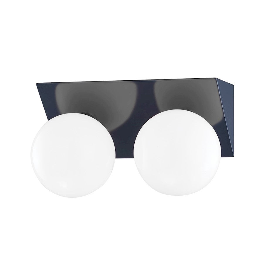 Mitzi Aspyn 2 Light Bath Bracket, Navy/Opal Glossy - H385302-PN-NVY