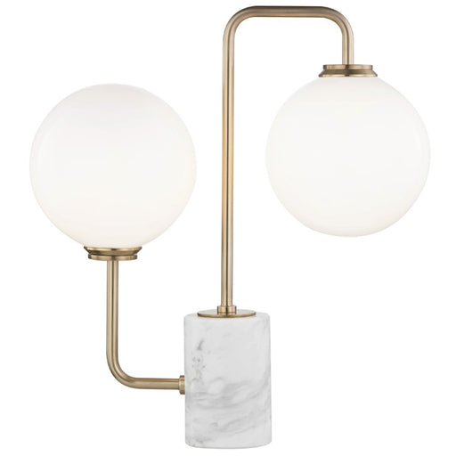 Mitzi by Hudson Valley Mia 2 Light Table Lamp, Marble Base, Brass