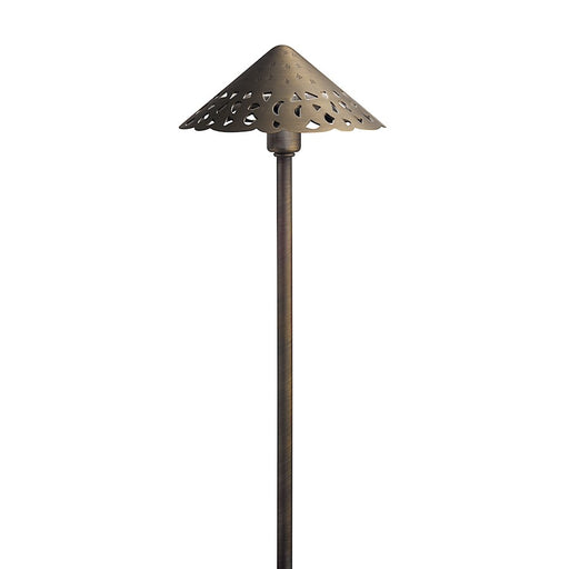"Kichler LED Integrated 3 Light 22"" Hammered Roof Path Light, Centennial Brass"