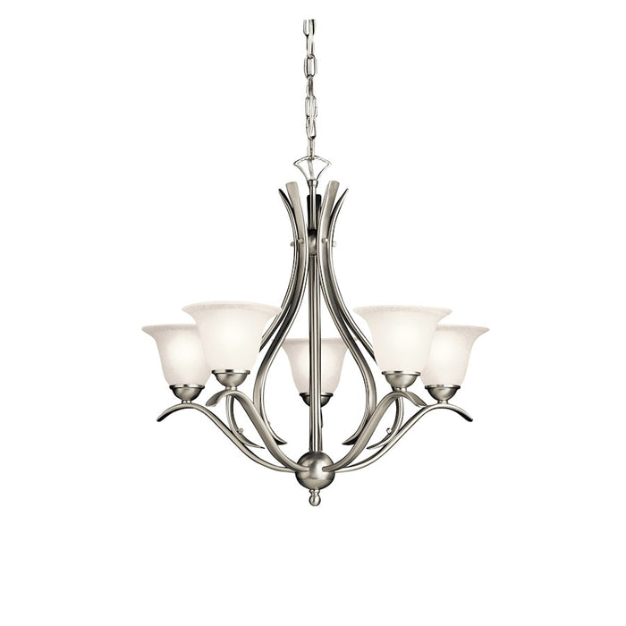 Kichler Dover 5 Light Chandelier, Etched Seeded Glass