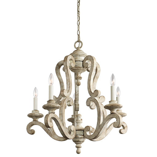 Kichler Hayman Bay 5 Light Chandelier, Distressed Antique White