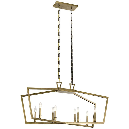 Kichler 8 Light Traditional Linear Chandelier, Natural Brass