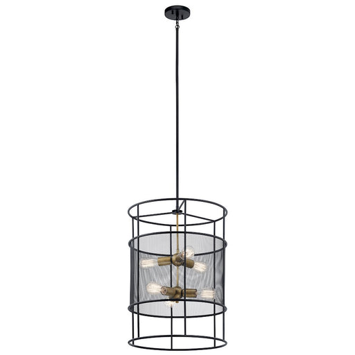 Kichler Piston 6 Light Foyer Pendant, Black