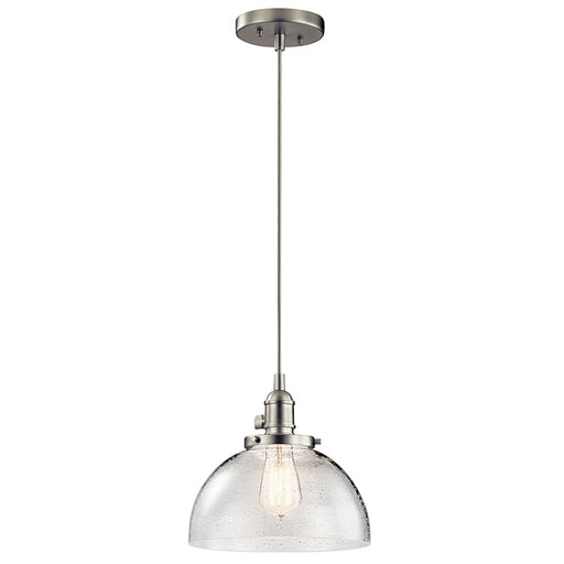 Kichler Avery 1 Light Mini Dome Pendant, Brushed Nickel/Seeded Glass