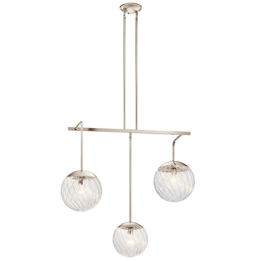 Kichler Amaryliss Linear 3 Light Chandelier, Polished Nickel