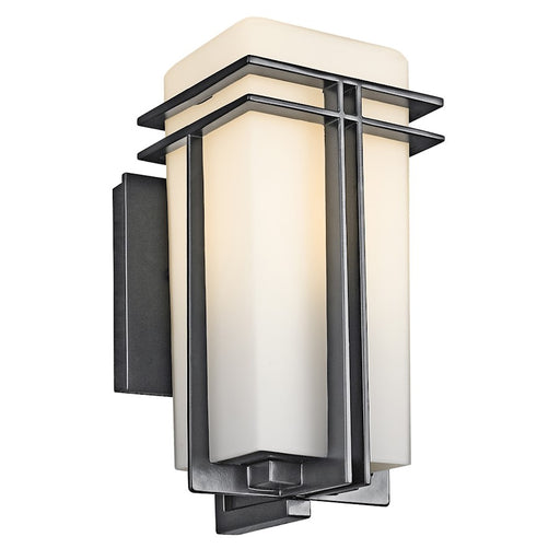 Kichler Tremillo Outdoor Wall Light, Black/Satin Etched Opal