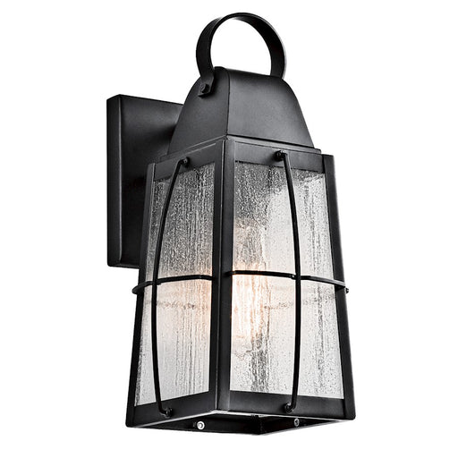 Kichler Tolerand Outdoor Wall Light, Textured Black/Clear Seeded
