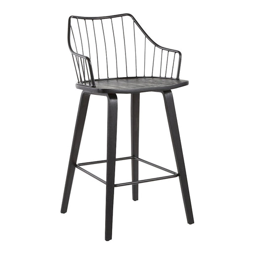 LumiSource Winston Counter Stool in Black Wood/Black Metal - B26-WINSTNBKBK